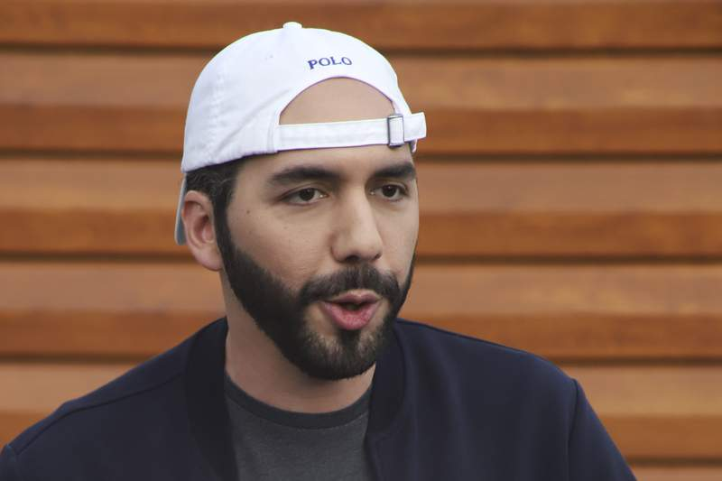 FILE - In this Feb. 17, 2021, file photo, Salvadoran President Nayib Bukele speaks before the start of vaccination of medical staff with the AstraZeneca COVID-19 vaccine at the Atlacatl Medical Unit of the Salvadoran Social Security Institute in San Salvador, El Salvador. Allies of Bukele, including his Cabinet chief, have been included in a list of senior officials in Central America deemed corrupt by the U.S. State Department, according to a copy of a report obtained by The Associated Press. (AP Photo/Salvador Melendez, File)