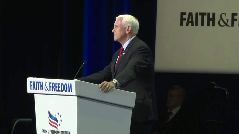 Former Vice President Mike Pence heckled at Faith & Freedom convention