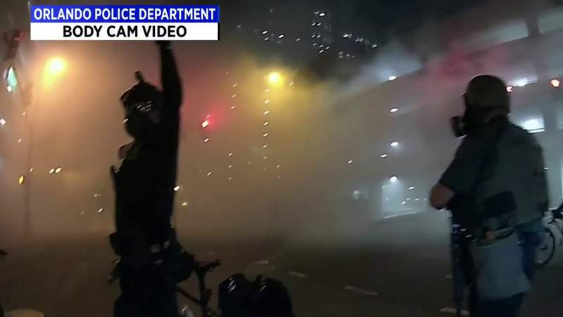 Body camera videos show violent clashes between protesters, officers in downtown Orlando