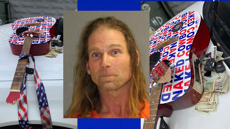 """""""Naked Cowboy"""" Robert Burck and his guitar. (Images: Daytona Beach Police Department/Volusia County Sheriff's Office)"""