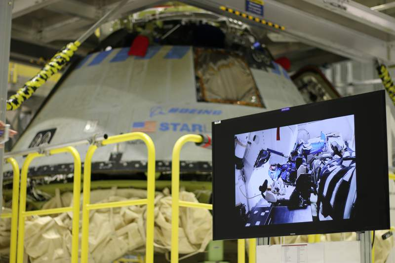Boeing's CST-100 Starliner spacecraft at Kennedy Space Center on Jan. 15, 2020.