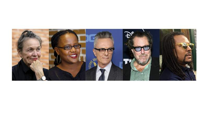 This combination photo shows, from left, Laurie Anderson, Edwidge Danticat, Carroll Dunham, Julian Schnabel and Colson Whitehead, who are among the newly elected members of the American Academy of Arts and Letters.  (AP Photo)
