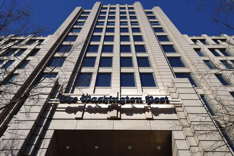 FILE - This Feb. 8, 2019 file photo shows The One Franklin Square Building, home of The Washington Post, in downtown Washington.   Washington Post politics reporter Felicia Sonmez sued the paper and several of its current and former editors for discriminating against her as a victim of sexual assault. In a suit filed Wednesday, July 21, 2021 in D.C. Superior Court, Sonmez says she was not allowed to report on sexual misconduct and frequently taken off stories after she publicly spoke out about her own experience.  (AP Photo/Pablo Martinez Monsivais, File )
