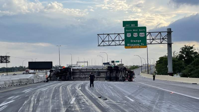 Officials have reopened a portion of westbound Interstate 4 after a semitruck overturned and spilled granite onto the road Tuesday evening.
