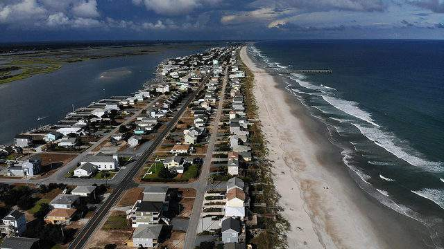 Homes along the coast in Topsail Beach, North Carolina, are evacuated before Hurricane Florence on Sept. 11, 2018.