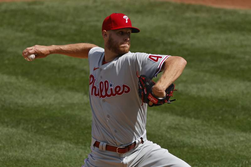 Philadelphia Phillies starting pitcher Zack Wheeler delivers a pitch during the first inning of a baseball game against the New York Mets on Monday, Sept. 7, 2020, in New York. (AP Photo/Adam Hunger)