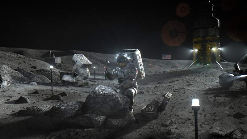 This illustration made available by NASA in April 2020 depicts Artemis astronauts on the Moon. (NASA via AP)