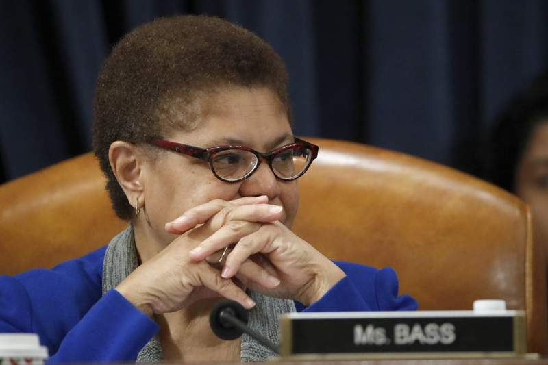 FILE - Dec. 12, 2019, file photo Rep. Karen Bass, D-Calif., listens during a House Judiciary Committee markup of the articles of impeachment against President Donald Trump, on Capitol Hill in Washington. California Congresswoman Bass has emerged a leading contender to be Democrats' vice presidential candidate. Allies say her reputation as a bridge-builder would make her a strong partner to presumptive Democratic presidential nominee. (AP Photo/Alex Brandon, File)