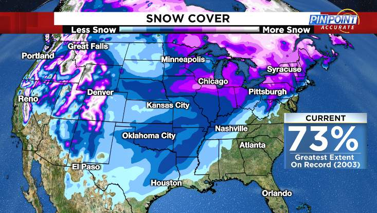 Estimated U.S. snow cover from Tuesday