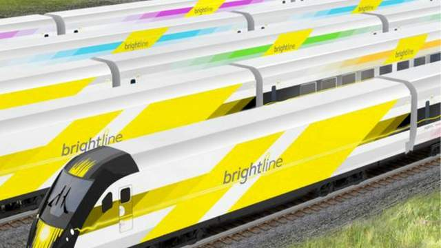 The Brightline trains will have yellow locomotives and passenger cars in a rainbow of colors.   (Photo: All Aboard Florida/Brightline)