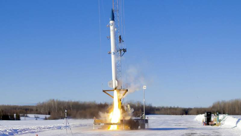 This Jan. 31, 2021 image provided by bluShift Aerospace shows The Knack Factory in Limestone, Maine, where an unmanned rocket lifts off in a test run. It was the first commercial rocket launch in Maine history. (bluShift Aerospace via AP)
