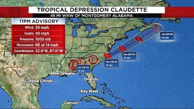 11 p.m. advisory information for Tropical Depression Claudette on June 19, 2021.