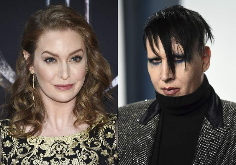 """In this combination photo, actress Esme Bianco appears at HBO's """"Game of Thrones"""" final season premiere in New York on April 3, 2019, left, and musician Marilyn Manson appears at the Vanity Fair Oscar Party in Beverly Hills, Calif. on Feb. 9, 2020. Bianco has sued Marilyn Manson alleging sexual, physical and emotional abuse. She filed the lawsuit in federal court in Los Angeles on Friday, April 30, 2021. (Photos by Evan Agostini/Invision/AP)"""