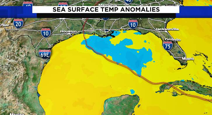 Below average temperatures (blue) are now showing up in the Gulf of Mexico after Hurricane Laura (red line) moved across the Gulf of Mexico. Above average temperatures (orange) remain elsewhere in the Gulf.