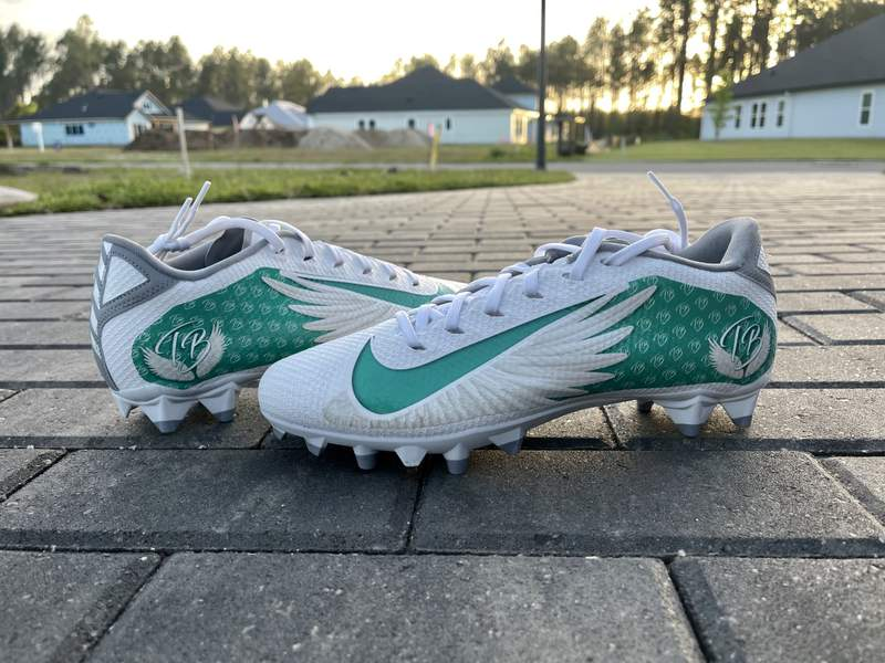 Cleats that will honor Tristyn Bailey.
