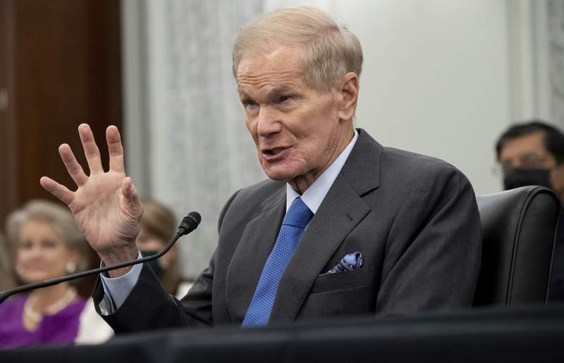 Former Sen. Bill Nelson, nominee to be administrator of NASA, speaks during a Senate Committee on Commerce, Science, and Transportation confirmation hearing, Wednesday, April 21, 2021 on Capitol Hill in Washington. (Saul Loeb/Pool via AP)