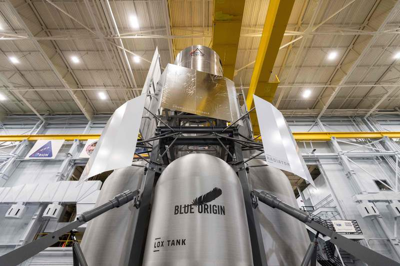 Blue Origin, Lockheed Martin, Northrop Grumman and Draper are working together to build a human moon lander system. A mockup of the lander arrived at Johnson Space Center in August 2020. (Image: Blue Origin)