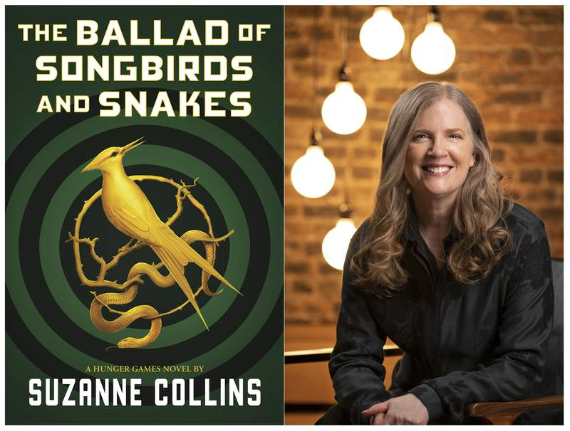 """This combination of images released by Scholastic shows the cover image for """"The Ballad of Songbirds and Snakes,"""" by Suzanne Collins, left, and a portrait of Collins. The """"Hunger Games"""" novel will be released on May 19. (Scholastic via AP, left, Todd Plitt/Scholastic via AP)"""