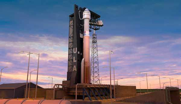 A rendering of the Boeing Starliner and ULA's Atlas V rocket. (Image credit: ULA)