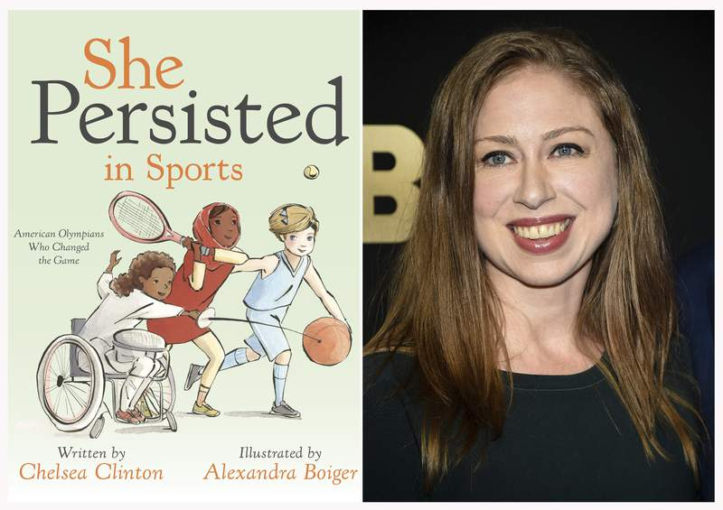 """This combination photo shows a cover image released by Penguin Young Readers of """"She Persisted in Sports"""" by Chelsea Clinton, left, and Chelsea Clinton at the Lincoln Center for the Performing Arts American Songbook Gala on May 29, 2018, in New York. (Penguin Young Readers via AP, AP Photo)"""
