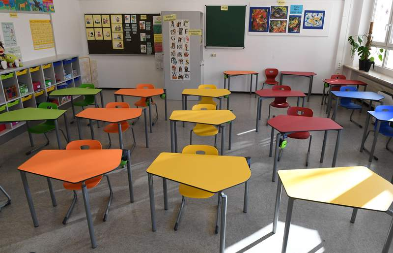 An empty classroom in a primary school in Eichenau near Munich, southern Germany, is pictured on December 18, 2020, amid the ongoing novel coronavirus Covid-19 pandemic. (Photo by CHRISTOF STACHE/AFP via Getty Images)