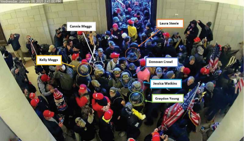 Oath Keepers seen inside the Capitol during the riot on Jan. 6, 2021, according to the FBI.
