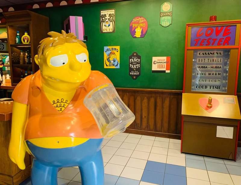 Barney Gumble inside Moe's Tavern at Universal Studios