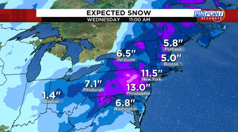 Snow forecast Monday through Wednesday. Up to two feet of snow is possible in parts on the northeast.