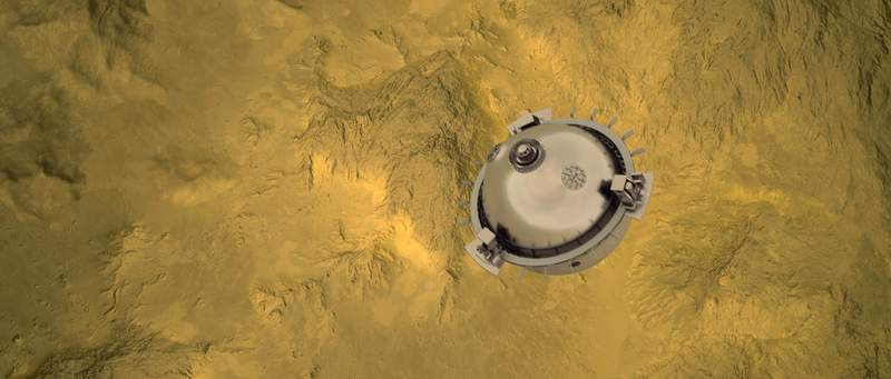 DAVINCI+ will send a meter-diameter probe to brave the high temperatures and pressures near Venus' surface to explore the atmosphere from above the clouds to near the surface of a terrain that may have been a past a continent.  Credits: NASA GSFC visualization by CI Labs Michael Lentz and others
