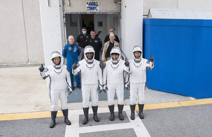 From left, NASA astronauts Shannon Walker, Victor Glover, and Mike Hopkins, and Japan Aerospace Exploration Agency (JAXA) astronaut Soichi Noguchi, participate in a dress rehearsal on Thursday, Nov. 12, at Kennedy Space Center in Florida, in advance of Sunday's launch of NASA's SpaceX Crew-1 mission. (Photo credit: NASA/Joel Kowsky)