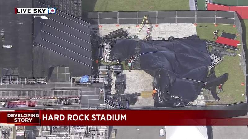 Giant video wall collapses at Hard Rock Stadium in Miami Gardens