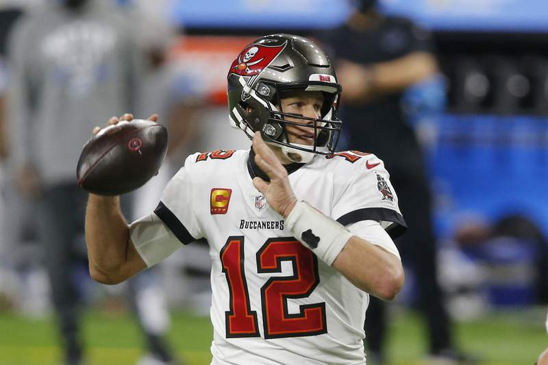 Tampa Bay Buccaneers quarterback Tom Brady throws during the first half of an NFL football game against the Detroit Lions, Saturday, Dec. 26, 2020, in Detroit. (AP Photo/Al Goldis)