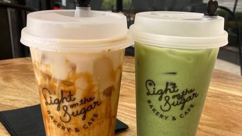 Tiger sugar and matcha lattes from Light On The Sugar