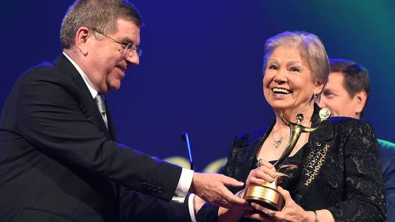 Outstanding Performance award, Larisa Latynina accepts her award during 1st ANOC Gala awards at Bangkok ANOC 2014. (Photo by Thananuwat Srirasant)