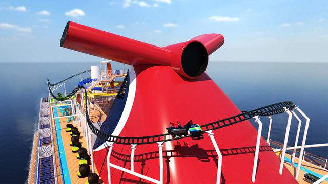 Carnival Cruise Lines revealed a roller coaster, Bolt: Ultimate Sea Coaster, will be a permanent fixture on its new cruise ship coming to Port Canaveral the Mardi Gras (Image: Carnival Cruise Lines)