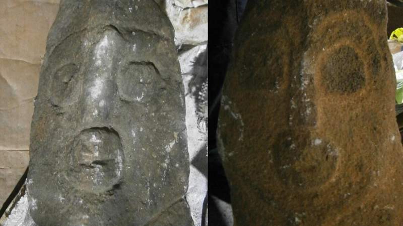 """Customs officers at Miami International Airport intercepted an air cargo shipment containing ancient stone carvings from Cameroon known as """"Ikom Monoliths""""."""