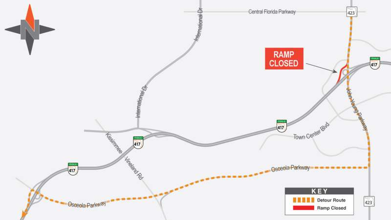 Detour for drivers during S.R. 417 on-ramp closures